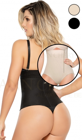 Ann Chery 1043 Black Bodysculpt Thong Bodysuit <br>Removable Straps - Tummy Control