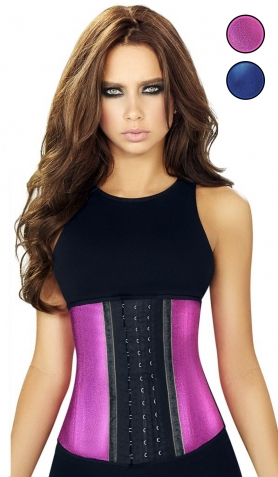 Ann Chery AC2046 Blue or Pink Metallic<br>Waist Trainer - 3 Hooks