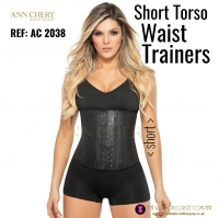 Short Torso Waist Trainers, Body Shaper for Weight Loss AC 2038 Black